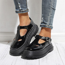 2020 Summer Women PU Leather Flat Shoes Female Thick Bottom T Strap Buckle Shallow Platform Ladies Fashion Casual Woman Shoes