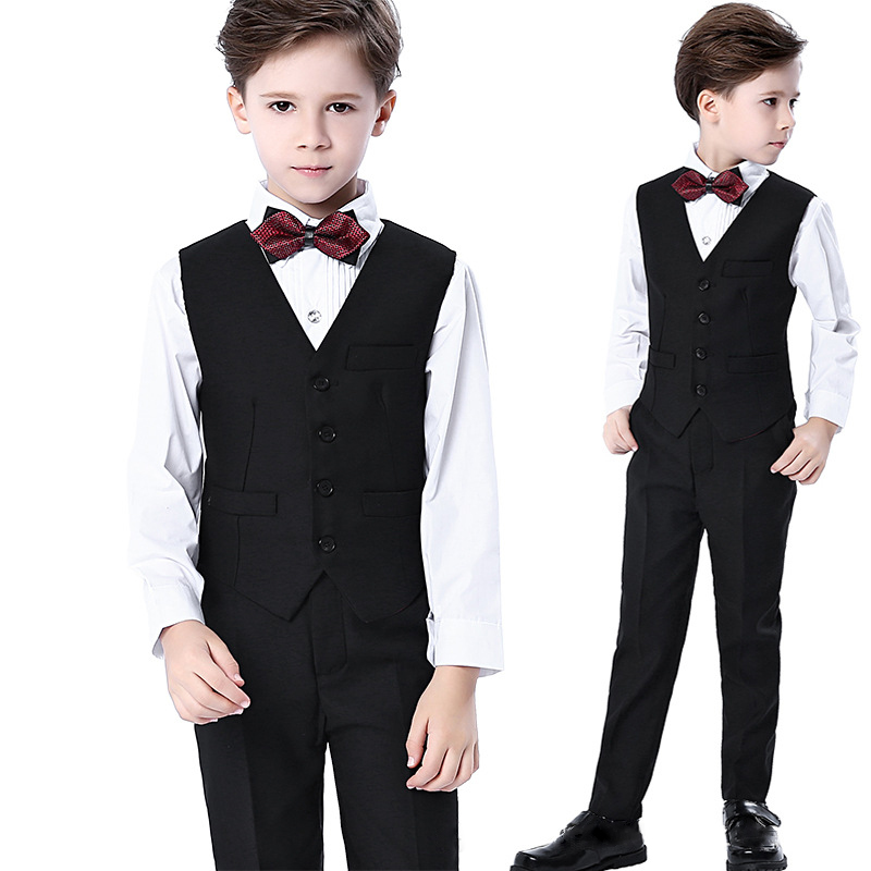 Fashion Coat Boys Suits 4 Piece For Weddings Kids Prom Wedding Clothes For Children Clothing Sets Boy Classic Costume Dresses