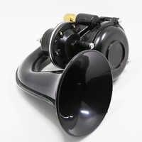 Universal 135db Air Horn Chrome 12/24V Super Loud Trumpet Air Horn with Electric Valve Flat for Auto Car Vehicle Trucks