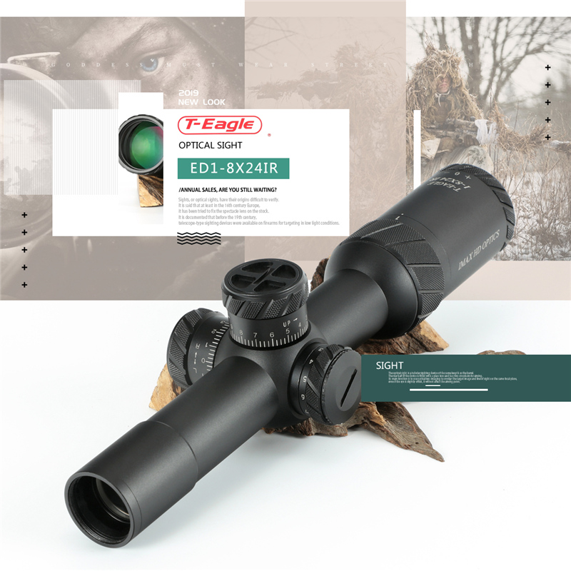 TEAGLE ED 1-8x24 IR Lange Eye Relief Hunting Riflescope Tactical Optical Sight Verlichte Red Rifle Scope Fit 30 -06 308 AR1