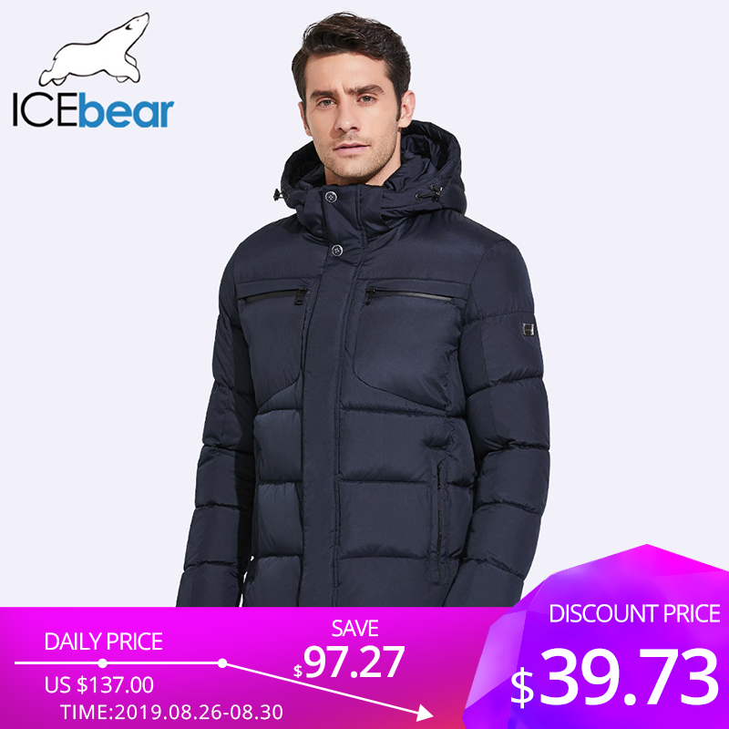 Icebear Mens Winter Jackets Parka Zipper Waterproof 17MD940D Hem Chest Practical Exquisite