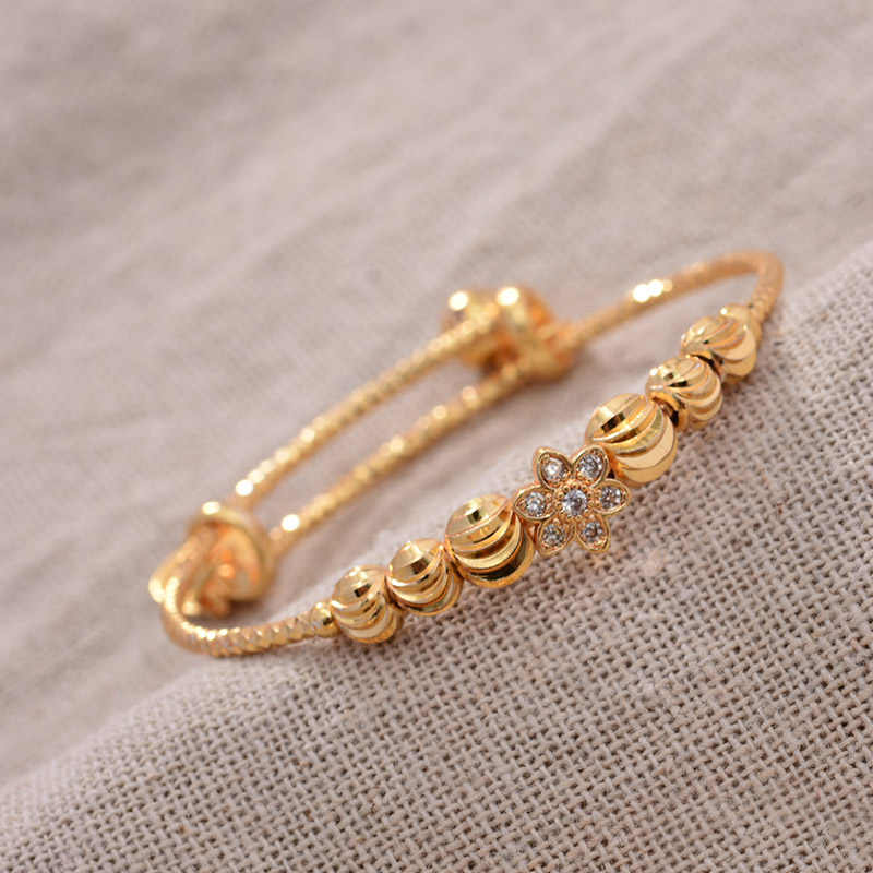24K 4pcs אתני זהב צבע דובאי צמידי בני בנות יוקרה תינוק צמידי צמיד ילדה כלה דובאי צמידי ילד תכשיטים