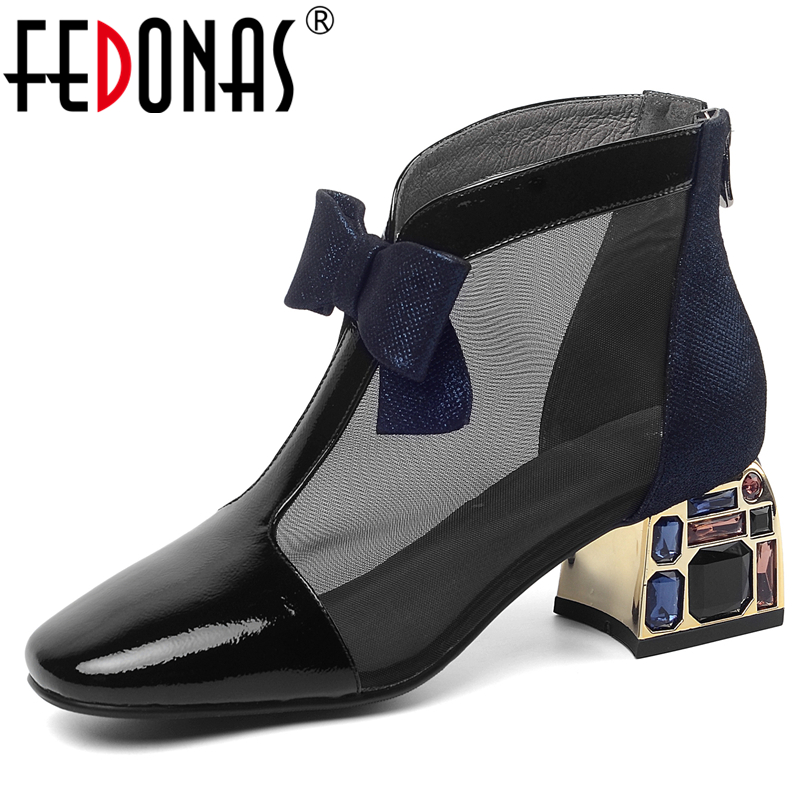 FEDONAS Summer New Euro Style Fashion Women Patent Leather Ankle Boots Butterfly Knot Mesh Crystal Thick Heel Zipper Boots Woman