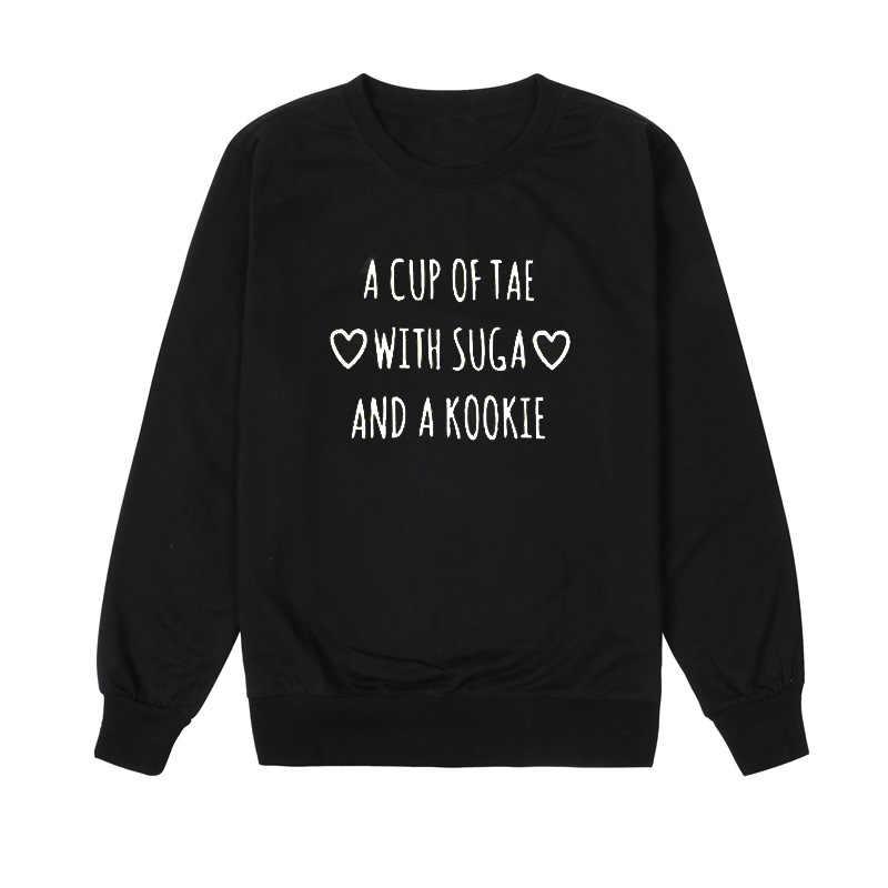 Чашка Tae с хлопковой kookie для женщин с круглым вырезом из хлопка с длинными рукавами с буквенным принтом свитеры и толстовки с принтом Осенняя рубашка