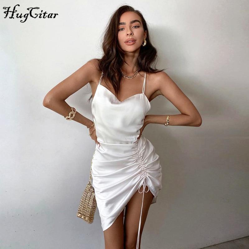 Hugcitar 2020 sleeveless pleated bandage backless sexy mini dress summer women fashion streetwear outfits white solid sundress