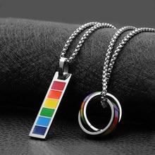 Bonito colorido arco-íris retângulo círculo redondo pingente de aço inoxidável colar corrente jóias coração para mulher homem menina presentes