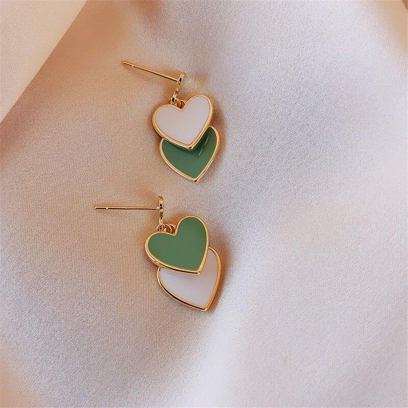 Trendy 2020 New Green Peach Heart Pendant Earrings For Women Hypoallergenic Korean Earrings Girl Jewelry Anniversary Gifts