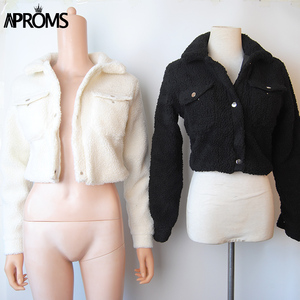 Image 3 - Aproms Fashion Black Pockets Buttons Jackets Women Long Sleeve Slim Crop Top Winter Coat Cool Girls Streetwear Short Jacket 2020