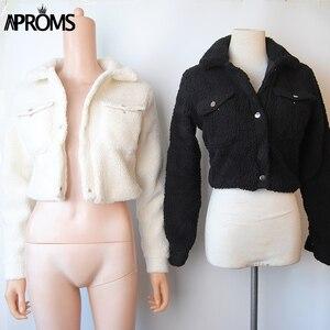 Image 3 - Aproms модная черная куртка на пуговицах с карманами, Женская приталенная укороченная куртка с длинным рукавом, зимнее пальто, крутая уличная короткая куртка для девочек 2020