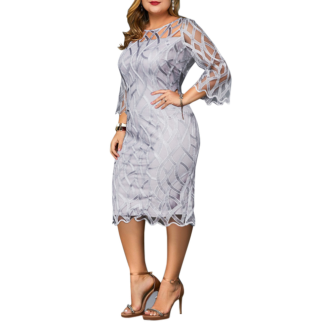 6XL Elegant Women Dress Plus Size Transparent Seven Sleeve Party Dress Autumn Ladies Knee-Length Dress Fall Retro vestidos D30 3