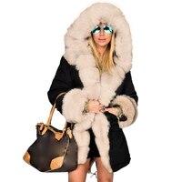 Oversize Winter Women Hooded Fur Parkas Full Coats Raccoon Fur Collar Long Sleeve Thick Coat Ladies Warm Plush Jackets Outwear