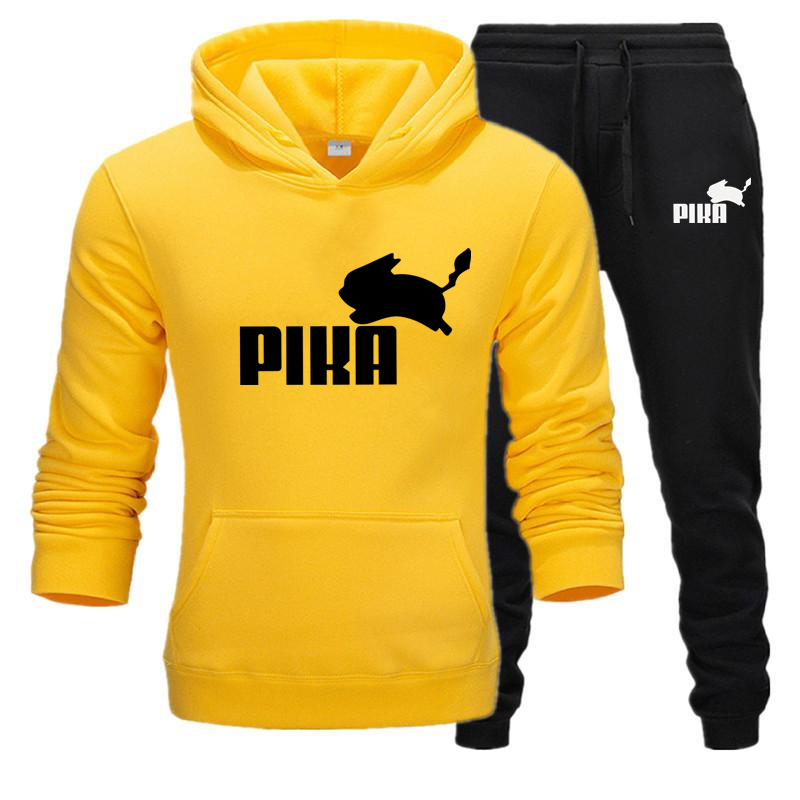 2019 New Brand Men's Pullover Hooded Autumn/Winter Men's Sets Harajuku Anime PIKACHU Hoodies +sweatpants Two Pieces Set S-3XL