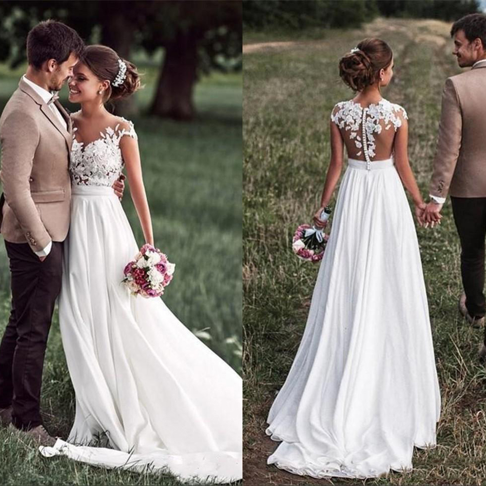 Beach Lace Appliques Bride Dress New Cap-Sleeves Slit Side Buttons White/Ivory Wedding Dresses 2019 Vestidos De Noivas Plus Size
