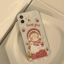 Illustration Rural Cute Girl Case For iPhone 12 12min 12Pro 12ProMax 11 11Pro 11ProMax SE2020 X XS XSMAX XR 7 8 7Plus 8Plus