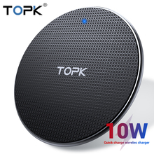 TOPK Беспроводное зарядное устройство для iPhone Xs Max X 8 Plus 10 Вт Быстрая зарядка для samsung Note 9 Note 8 S10 Plus