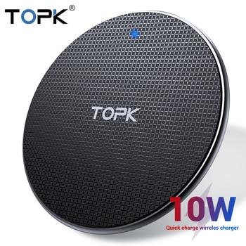 Chargeur sans fil TOPK pour iPhone Xs Max X 8 Plus 10W chargeur rapide pour Samsung Note 9 Note 8 S10 Plus