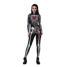 Цветочный механический костюм с изображением костей страшные костюмы на Хэллоуин для женщин розовый Скелет Череп размера плюс комбинезон