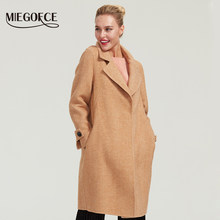 MIEGOFCE 2019 high quality autumn-winter double-sided cashmere coat fashion long double-sided cashmere women's woolen half-coat(China)