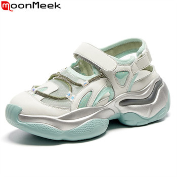 MoonMeek 2020 New Brand fashion women sneakers genuine leather comfortable casual shoes spring summer sneakers green white