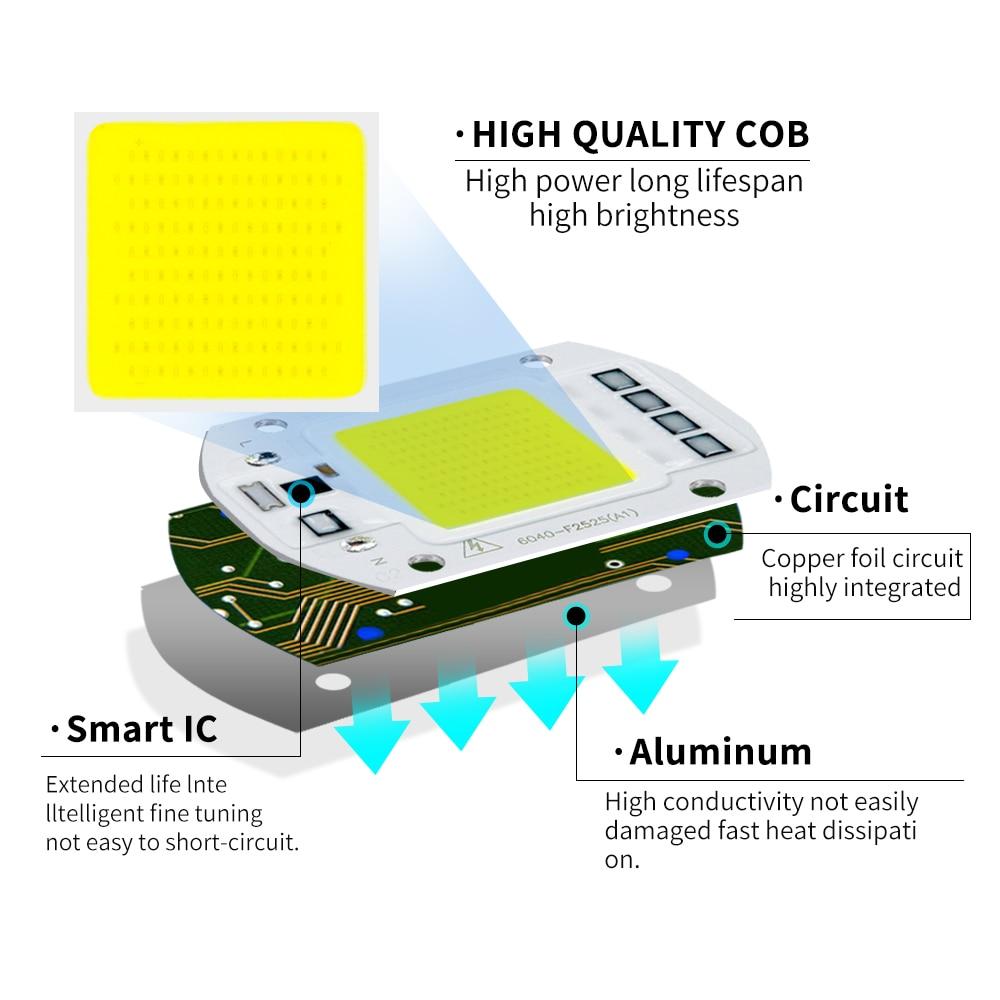 COB LED Lamp CHIP 220V 110V LED Lights Bulb 10W 20W 30W 50W IP65 Smart IC DIY Flood light Bulb Spotlight Lamp Outdoor Lighting 4