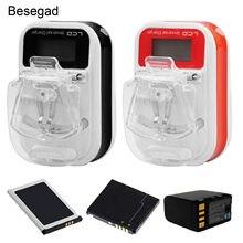Besegad carregador de parede universal usb, carregador de bateria para viagem com tela lcd para celular nokia samsung eu plug tipo