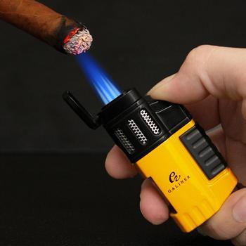 Butane Gas Lighter Tobacco Windproof 4 Jet Blue Flame Torch Cigarette Lighters Smoking Metal Pocket Cigar Lighter For COHIBA CT недорого