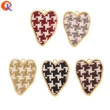 Diseño Cordial 50 piezas 25*33MM accesorios de joyería/dijes/hecho a mano/efecto de tela/Corazón forma/fabricación de joyas DIY/hallazgos de pendientes