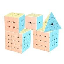Moyu marcaron série 2x2 3x3 4x4 5x5 pirâmide jinzita cubo mágico dos desenhos animados cubos de desempenho competitivo para crianças brinquedos educativos
