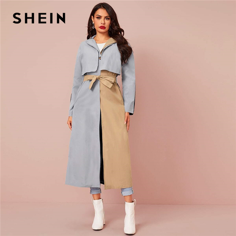 SHEIN Colorblock Single Button Casual Belted Trench Coat Women 2020 Spring Long Sleeve Streetwear Two Tone Ladies Long Outwear
