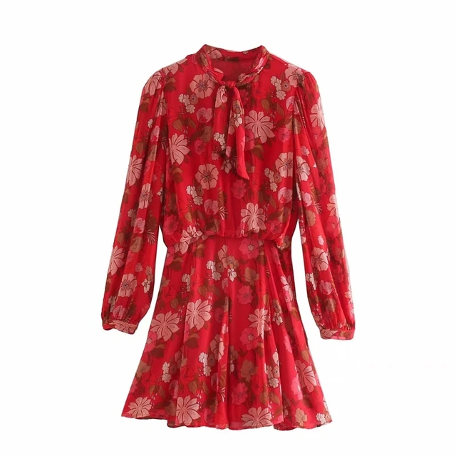 Red Floral Printed Chiffon Mini Dress Women Za 2020 Fashion Bow O-neck Pleated Long Sleeve Dress Woman Vintage Elegant Dresses 5