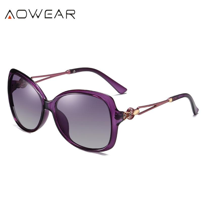 C1 Purple Purple AOWEAR 2020 Oversized Retro Women s Sunglasses Women Polarized Luxury Brand Gradient Shades Sun Glasses Lady