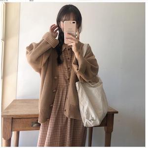Image 5 - כותנה בציר שמלות נשים מקרית חמוד מתוק הסטודנטיאלי סגנון קוריאה יפן קו פיטר פאן צווארון משובץ חולצה שמלה 9012