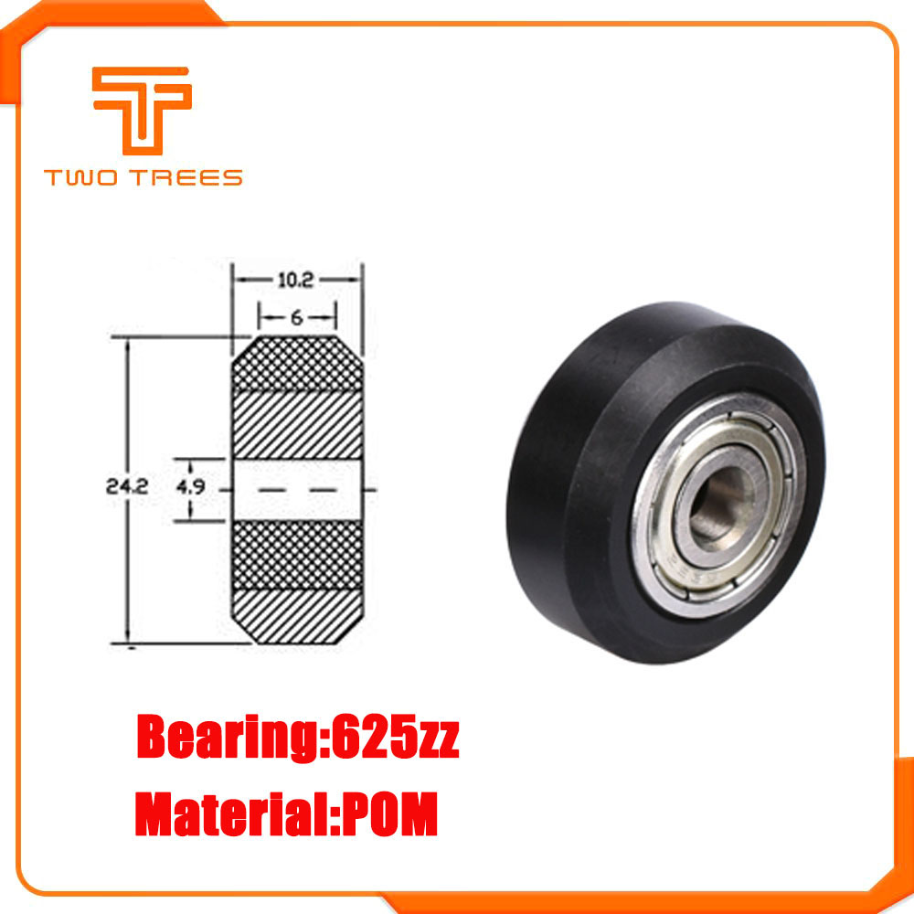 1PC Openbuilds plastic wheel pom with 625zz idler pulley gear passive round wheel perlin wheel for I3 Ender 3 CR10 3D Printer(China)