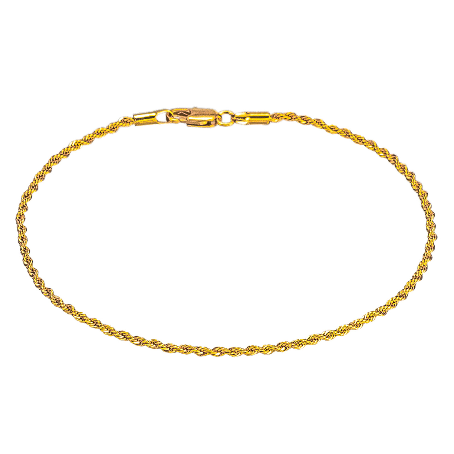 Gold Color/White Color 2mm Rope Link Chain Flat Anklet, 9 10 11 inches Ankle Bracelet for Women Men Waterproof