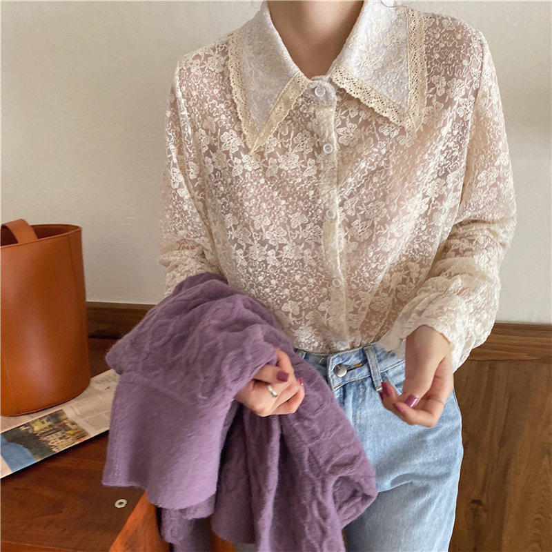 Alien Kitty Apricot Delicate Lace Elegant Sweet Turn-Down Collar Tops 2020 Hot Chic Flare Sleeves Embroidery Floral Shirts