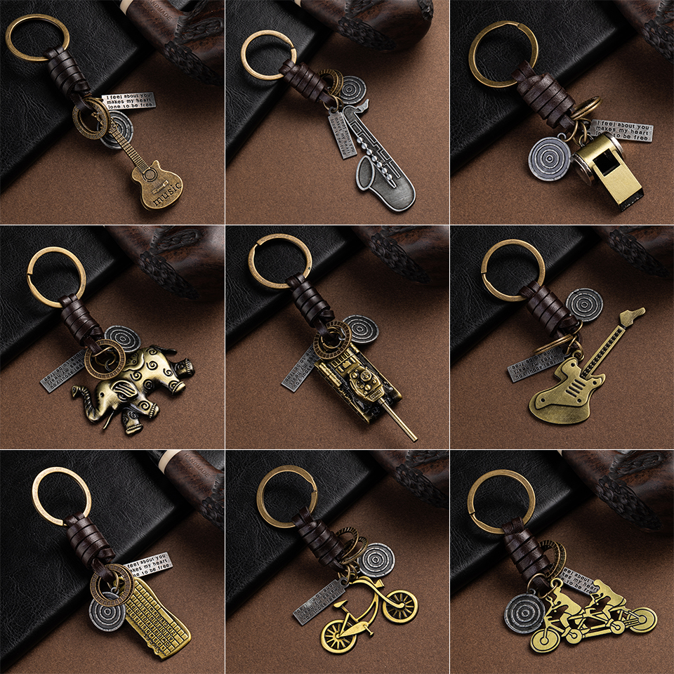 Multiple Guitar Elephant Pendant Suspension Leather Keychain Key Chain Fashion For Keys Car Keys Accessories Keychain On A Bag