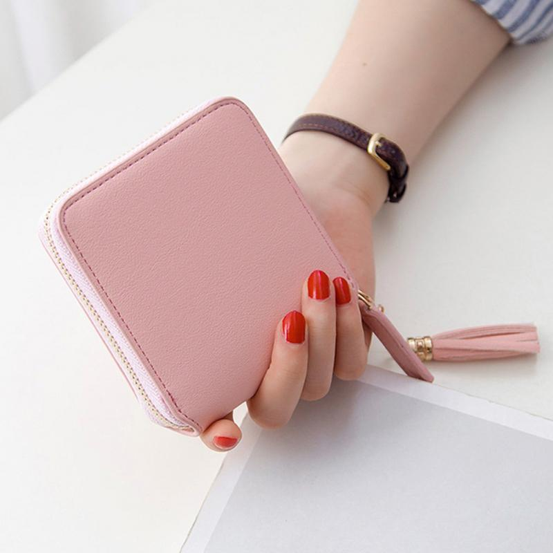 Hot Selling Women Square Coin Purses Holders Wallet Female Leather Tassel Pendant Money Wallets Fashion Clutch Bag 3 Colors