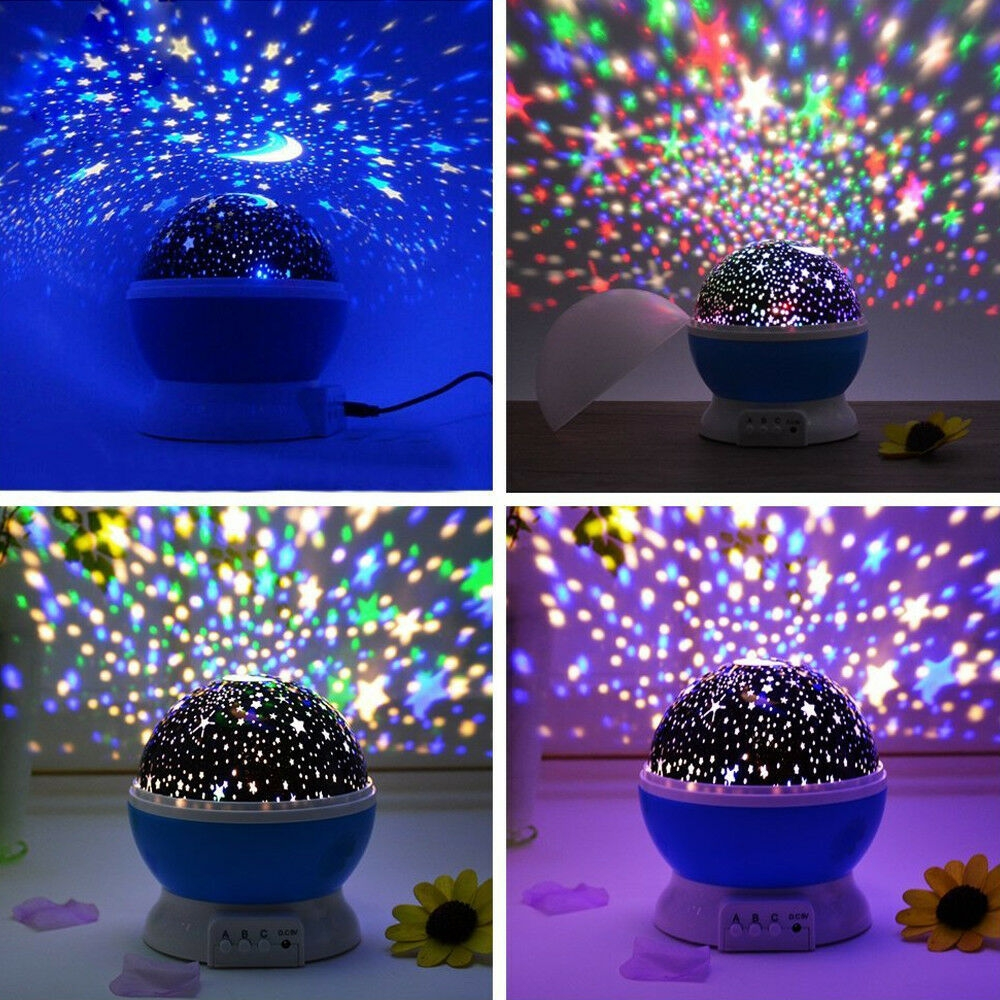 LED Night Light Projector Star Moon Sky Rotating Battery Operated Bedside Lamp For Children Kids Baby Bedroom Nursery Gifts