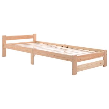 Solidne drewniane łóżko łóżko futon lite drewno naturalne łóżko wykonane z zagłówkiem i listwą naturalne (200x90cm) tanie i dobre opinie Nowoczesne 1400mm 2000mm CN (pochodzenie) Nowoczesna i minimalistyczna WF197844NAA