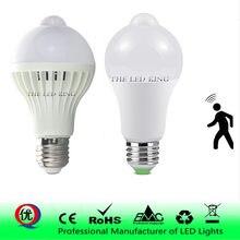 Lampe LED à capteur de mouvement PIR, ampoule marche/arrêt automatique, E27, 220 V, 7, 9, 12, 15 W, éclairage de détection sensible au geste du corps humain
