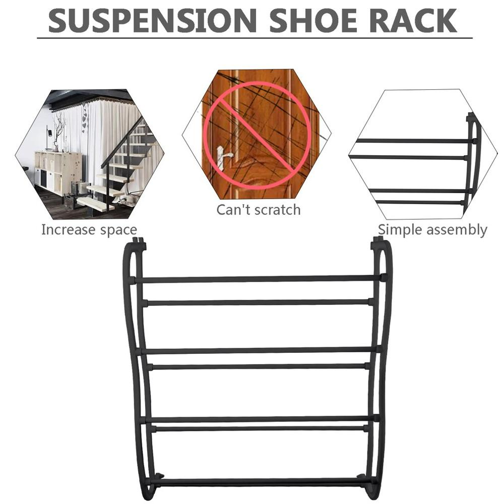 4 Layers Hanging Shoe Rack for 12 Pairs of Shoe Rack with Non Slip Door Pads to Prevent Scratching 2