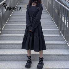 Japon kız kadın askı elbise kadın 2020 sonbahar Gothnic Darb siyah yüksek bel ince uzun kollu Retro elbise AFC793