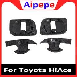 Car Styling dla Toyota HiAce szóstej Gen (H300) 2019 2020 z włókna węglowego styl klamka do drzwi wewnętrznych pokrywa złapać miska wykończenia wkładka Bezel w Chromowane wykończenia od Samochody i motocykle na