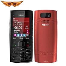 Original desbloqueado nokia X2-02 único núcleo symbian os bluetooth fm rádio duplo sim 1020mah preto e vermelho usado telefone móvel