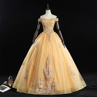 Mrs Win Quinceanera Dresses 2020 Luxury Off The Shoulder Ball Gown Vintage Lace Embroudery Party Prom Quinceanera Dress