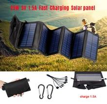 Panneau solaire pliable USB 25W, cellule solaire Portable, étanche, chargeur de batterie, pour lextérieur, Mobile