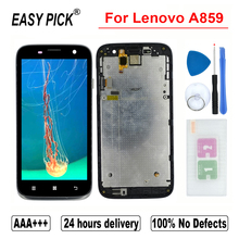 For Lenovo A859 LCD Display Touch Screen Digitizer Assembly Replacement with frame Free Tools