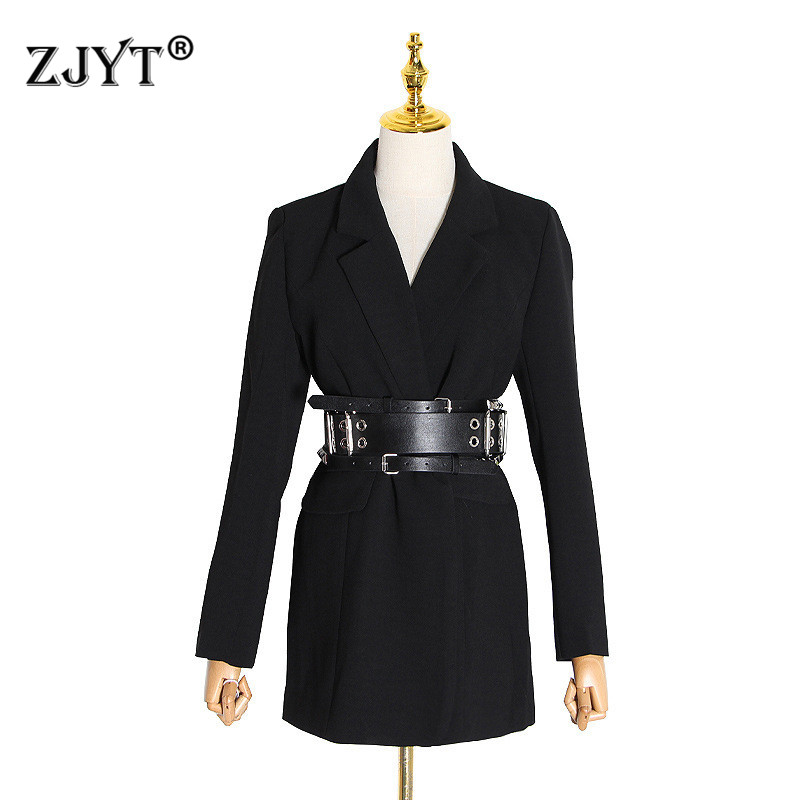 2020 New Spring Runway Fashion Office Lady Blazers And Jackets Women Elegant Notched Collar Long Sleeve Black Coats With Belt