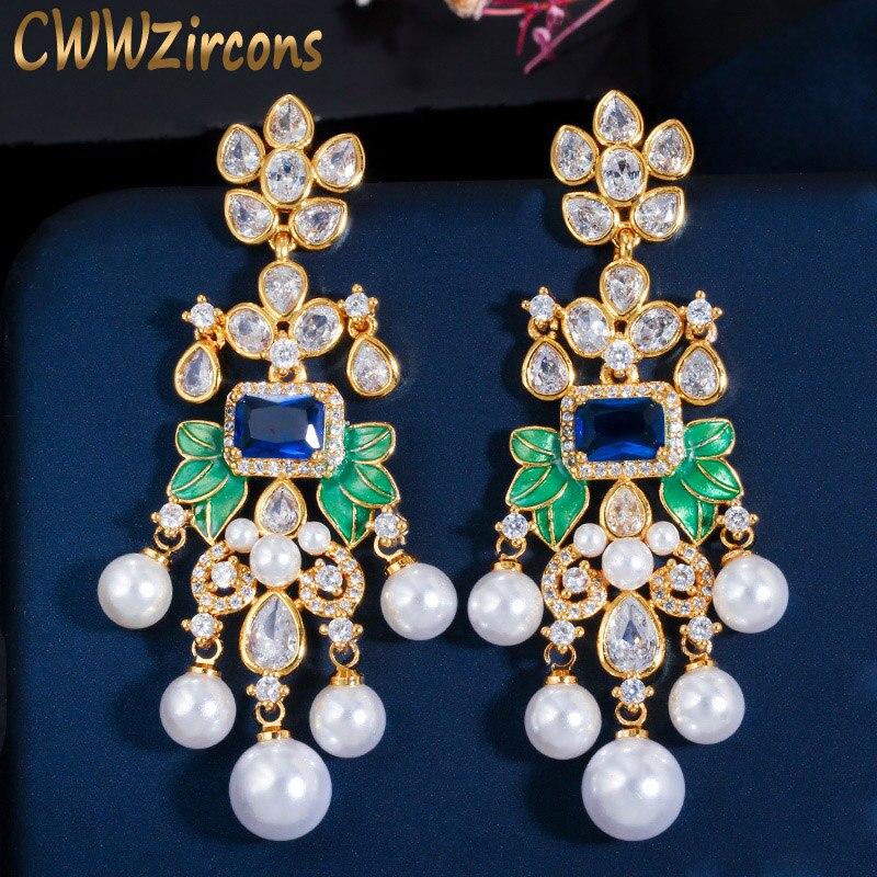 CWWZircons Flowers Cubic Zircon CZ Long Dangle Pearl Earrings for Women African Bridal Earring aretes de mujer modernos CZ656Drop Earrings   -