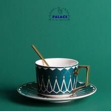 Европейская керамическая кофейная кружка с ложкой и блюдом большая